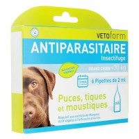 Pipettes Antiparasitaire Insectifuge Grand Chien +30 kg 6 pipettes