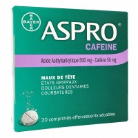 Aspro Caféiné 500mg 50mg 20 comprimés effervescents