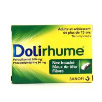 Dolirhume paracétamol 500mg / pseudoephedrine 30 mg 16 comprimés