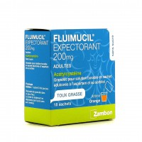Fluimucil Adulte Expectorant Toux Grasse 200mg Sans Sucre granulés 18 sachets