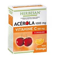 Herbesan Acerola goût orange 1000 30 comprimés à croquer