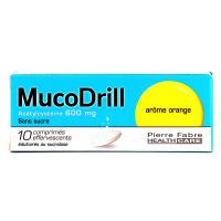 Mucodrill Acetylcystéine 600 mg 10 comprimés effervescents