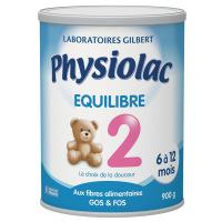 Physiolac equilibre Lait 2ème âge Boite de 900 grammes