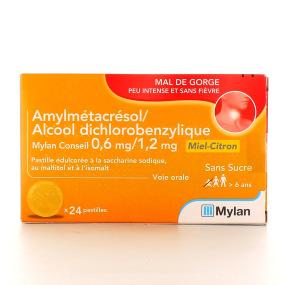 Amylmétacrésol 0,6 mg/Alcool dichlorobenzylique 1,2 mg Mylan
