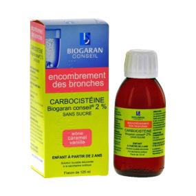 Carbocistéine Biogaran 2% Sirop Sans sucre Enfants