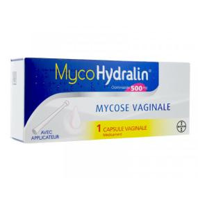 Mycohydralin 500MG Mycose Vaginale 1 Capsule avec Applicateur