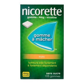 Nicorette fruits 105 gommes 4 mg sans sucre