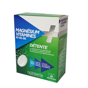 Nutrisanté Magnésium + Vitamines B1 B2 B6 24 comprimés efferverscents