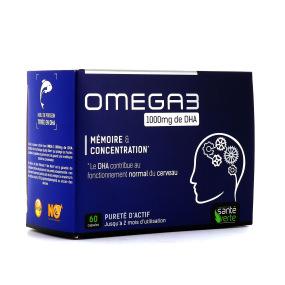 Oméga 3 1000 mg de DHA, mémoire concentration - 60 gélules