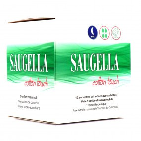 Saugella Cotton Touch Nuit Serviettes Extra-Fines x12