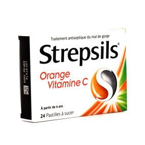 Strepsils orange + vitamine C 24 pastilles