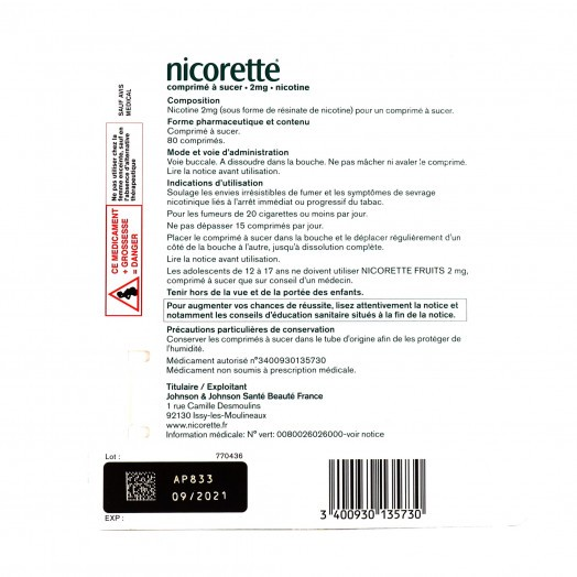 Nicorette nicotine 2 mg fruits 4x20 comprimés à sucer