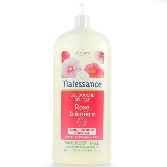 Natessance Gel Douche Délicat Rose Trémière flacon-pompe 1 L
