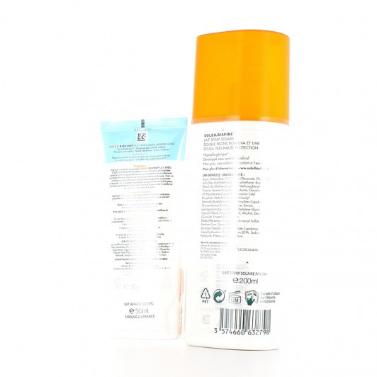 Soleilbiafine lait spray solaire SPF 50 + en  200 ml