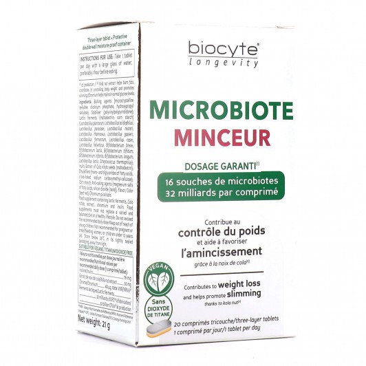 Biocyte Longevity Microbiote minceur 20 comprimés-contrôle du poids et amincissement