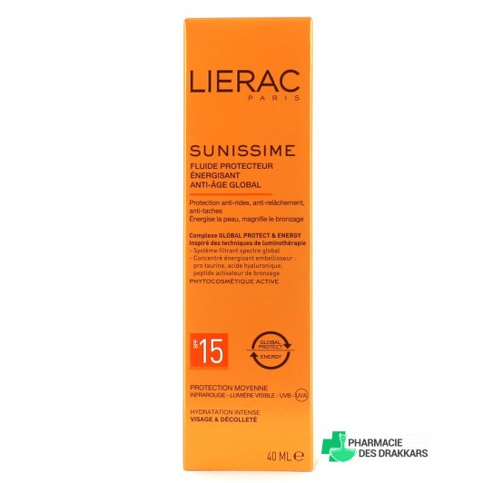 LIERAC Sunissime Fluide Protecteur Énergisant  SPF15 Anti-âge Global  40ml